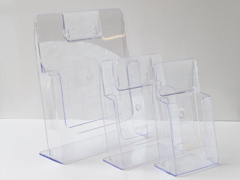Universal injection moulded leaflet holders: A4, A5 and 1/3 A4